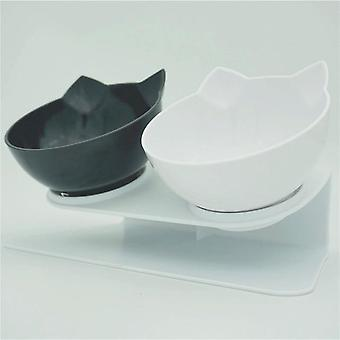Non Slip Double Pet Cat Dog Water & Food Bowl With Raised Stand