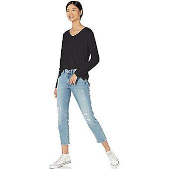 Brand - Goodthreads Women's Washed Jersey Cotton Long-Sleeve V-Neck T-Shirt, Black , Large