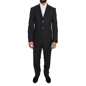 Z ZEGNA ダークグレー ツーピース 3 ボタン ウール スーツ -- KOS1575088