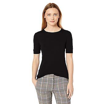 Lerche & Ro Frauen's Merino Wolle Kurzarm RundhalsPullover, schwarz, Medium