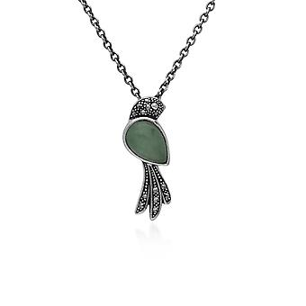Classic Pear Green Jade & Marcasite Bird Necklace in 925 Sterling Silver 214N699702925