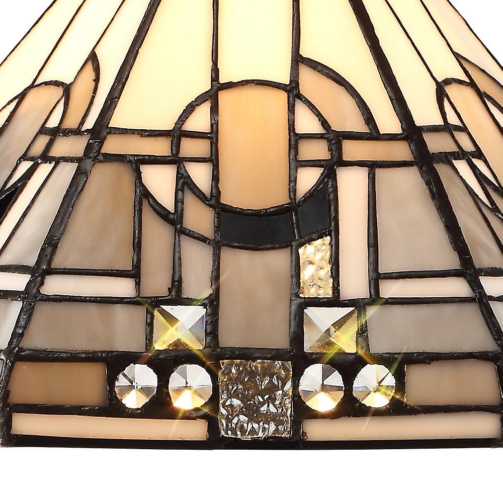 1 Light Downlighter Ceiling Pendant E27 With 30cm Tiffany Shade, White, Grey, Black, Clear Crystal, Aged Antique Brass