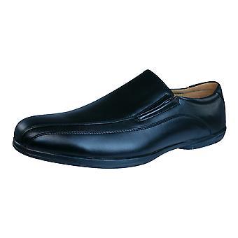 Plantilla Piel Mens Slip op molières wandelen / schoenen - zwart