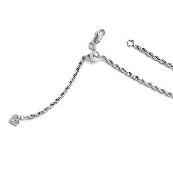 2.25mm 925 Sterling Silver Polished Lobster Claw Closure Ajustável Rope Chain Necklace Joalheria Presentes para mulheres - Comprimento
