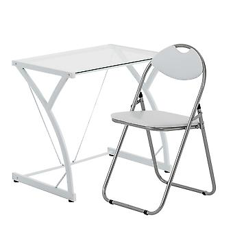 2 Piece Computer Desk and Chair Set - Glass Top - White/White