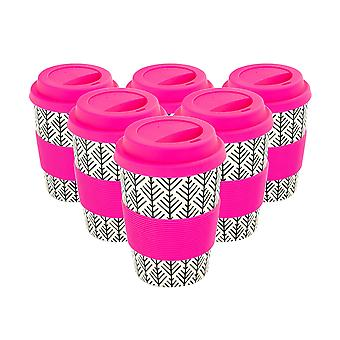 Reusable Coffee Cups - Bamboo Fibre Travel Mugs with Silicone Lid, Sleeve - 350ml (12oz) - Geometric - Pink - x6