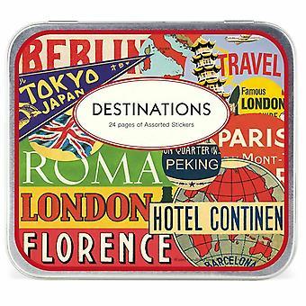 Adesivos de 'Destinos' Vintage estilo viagens Cavallini 24 folhas 100 + adesivos / ofício