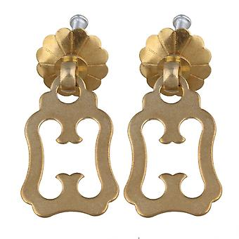 2Sets Brass Retro Cabinet Door 45mm Length Pull Handle with Screws Gold