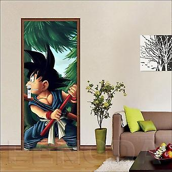 3d Anime Dragon Ball Goku Image Self Adhesive Decal Canvas Door Sticker