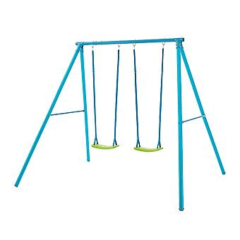 TP Toys Double Metal Swing Set Blue With Lime Green Seats 3 - 12 years