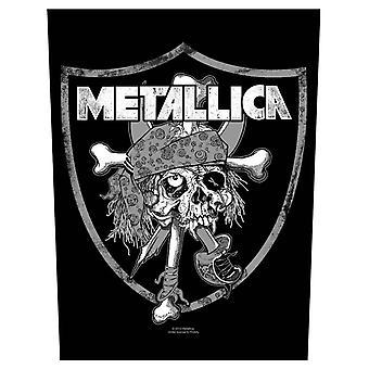 Metallica Backpatch Raider Skull offisielle nye svart bomull sy 36 cm x 29 cm