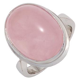 Naisten rengas 925 Sterling Hopea Rhodium 1 Ruusu kvartsi Cabochon Vaaleanpunainen Hopea rengas