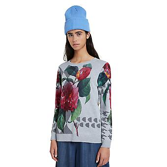 Desigual Niagra Sweater 20WWJF70 Grey with Pink Floral Roses