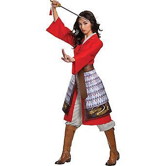 Costume Deluxe abito rosso mulan eroe donna