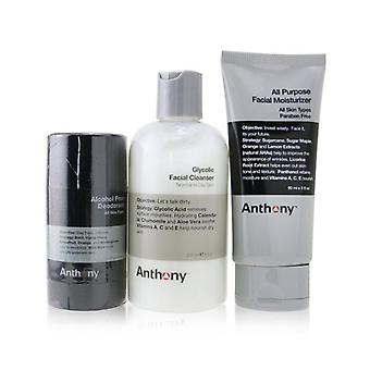 Anthony Basic Kit With Alcohol Free Deodorant: Cleanser 237ml + Moisturizer 90ml + Deodorant 70g 3pcs