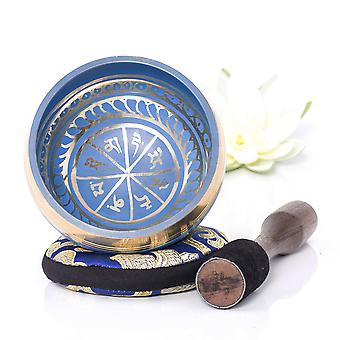 Silent mind ~ tibetan singing bowl set ~ blue color design ~ with dual surface mallet and silk cushi