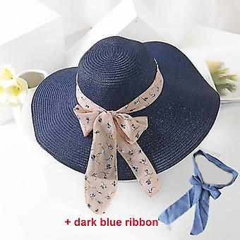 Handmade Straw Hat, Female Ribbon Bow-knot Wide Brim Beach Summer Shade Anti Uv