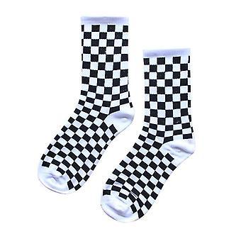 Trend Geometric Checkerboard Socks, Cotton, Unisex Streetwear