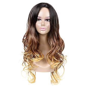 Women's Wig Ms. Long Hair Gradient Synthetic Wigs Long Curly Wig