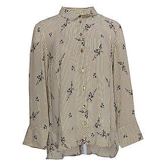 Joan Rivers Women's Top Floral Striped Shirt Beige A309290