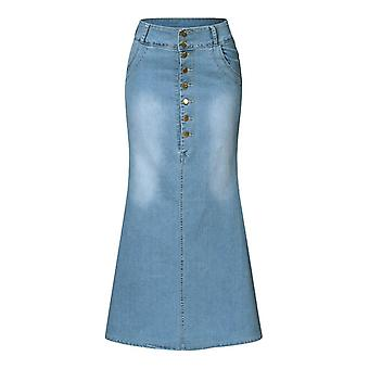 Women's Turmput Demin Skirts, Casual Solid Button, Denim Ankle-length, Autumn