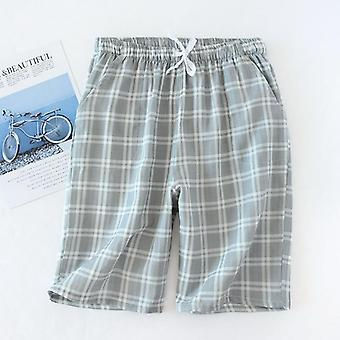 Men's Cotton Gauze Trousers Plaid Knitted Sleep Pants/pajamas Bottoms/sleepwear