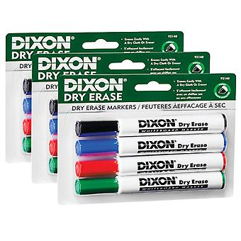 Dry Erase Markers Wedge Tip, 4 Colors Per Set, 3 Sets