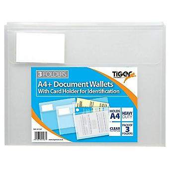 Tiger Stationery A4 Document Wallet (Pack of 3)