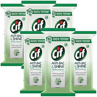 480 Toallitas de Cif Bio Anti-Bac & Shine Cleansing Surface Biodegradable Large Wipe