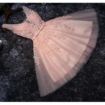 Tulle Short Graduation Dresses, Sleeveless A-line Lace Cocktail Dress