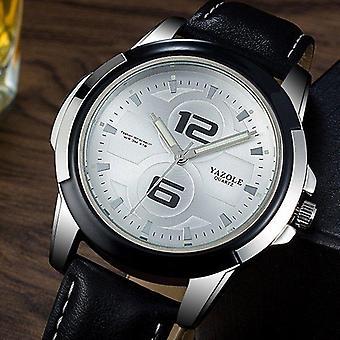 YAZOLE 418 Mænd Watch Luksus Lysende Læder Strap Fashion Sport Kvarts Wrist W