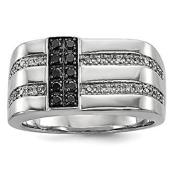 925 Sterling ezüst polírozott Prong meg zárthátú ródium bevonatú fekete-fehér gyémánt férfi gyűrű ékszerek ajándékok nekem