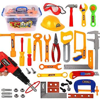 37pcs/set Pretend Play Helmet Plastic Drill Tool Engineering Education Toy