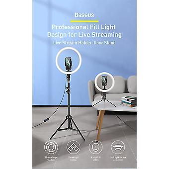 Selfie-ringlicht met statief - 12 inch - LED-videoringlicht - Clip voor mobiele telefoon + lang statief voor live staande uitzending / make-up