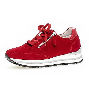 Gabor Nulon Schnürung Wide Fit Leder Sneakers In rotem Wildleder