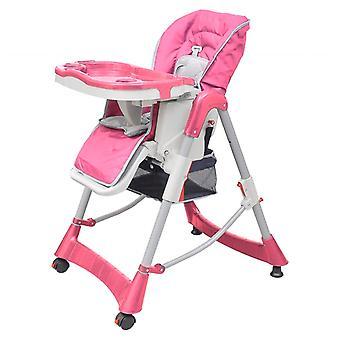 vidaXL Baby Chair High Chair Deluxe Pink Height Adjustable