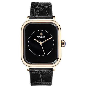Leather Rectangle Minimalist Quartz Dress Wrist Watch