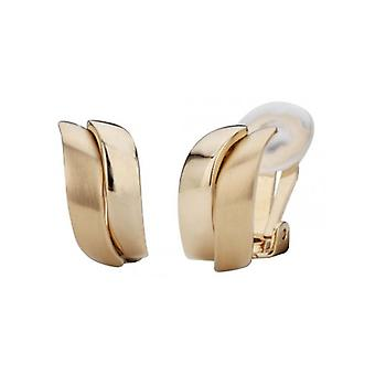 Traveller Clip Earrings Matt Shiny 22ct Gold Plated - 155100 - 423
