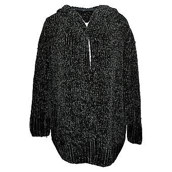 Lisa Rinna Collection Women's Sweater Chenille Cardigan w/Hood Blk A346922