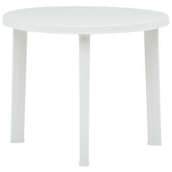 vidaXL Stół ogrodowy biały 89 cm Plastik