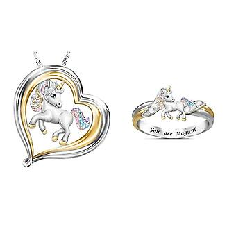 Zestaw biżuterii Rainbow Unicorn, & s Naszyjnik, Pierścionek, Zestawy Biżuterii, Cartoon Animal