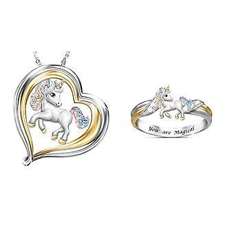 Rainbow Unicorn Jewelry Set, 's Necklace, Ring, Jewelry Sets, Cartoon Animal