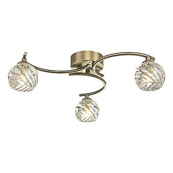 DAR NAKITA Semi Flush Loft Light Light Antikke Messing Med Twisted Åbent Glas, 3x G9
