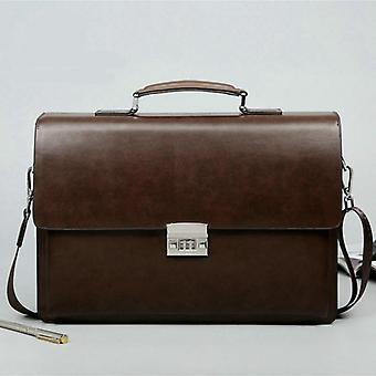 Business Men's Bag, Large Capacity Cowhide Leather Briefcase