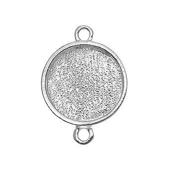 Nunn Design Bright Silver Plated Pewter  Collage Bezel Round 2-Loop Link 12.8mm