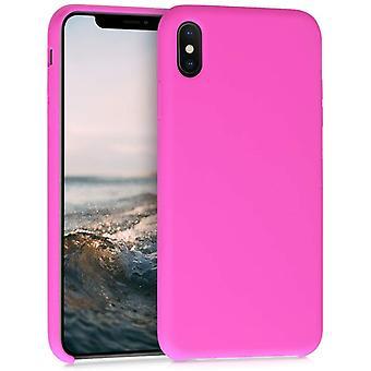 FengChun Hülle für Apple iPhone XS Max - Handyhülle gummiert - Handy Case in Magenta