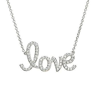 Eye Candy women's necklace silver necklace 925 rhodium with 61 white zircons 46 cm ECJ nl0077 Love pendant