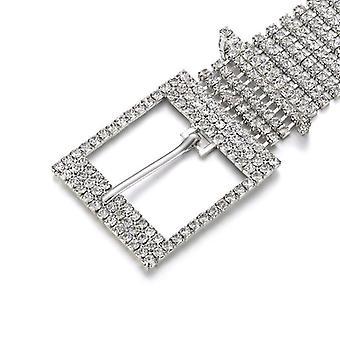 אופנה יוקרה נשים Rhinestone חגורה רחב בלינג קריסטל יהלום מותניים שרשרת