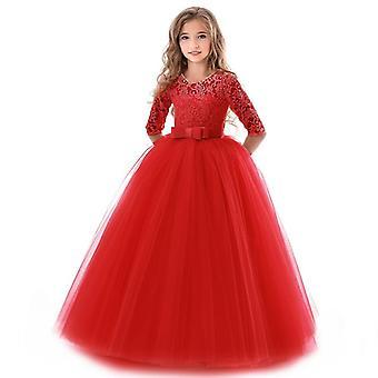 נערות שמלת קיץ בגדי ילדים אלגנטי הנסיכה לונג טול תינוקות ילדים תחרה טקס שמלות