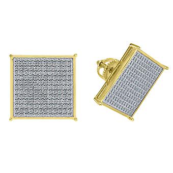 925 Sterling Silver Yellow tone Mens CZ Cubic Zirconia Simulated Diamond Square Stud Earrings Jewelry Gifts for Men